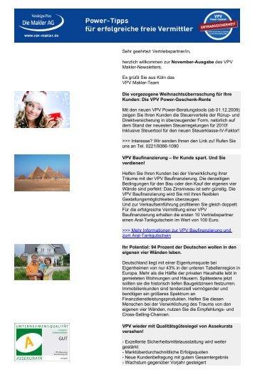 Newsletter November 2009 (PDF) - VPV Makler