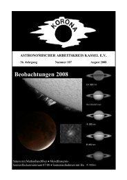 Beobachtungen 2008 - Sternwarte Calden Kassel
