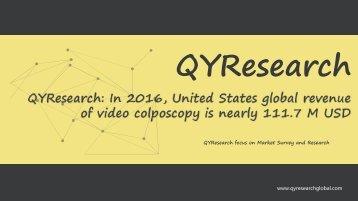 QYResearch: In 2016, United States global revenue of video colposcopy is nearly 111.7 M USD