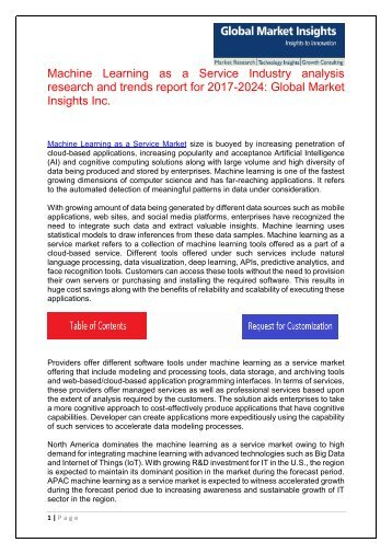 Machine Learning as a Service Market trends research and projections for 2017-2024