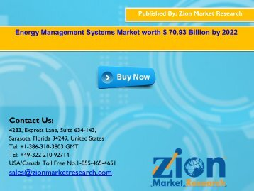 Energy Management Systems Market, 2016 – 2022