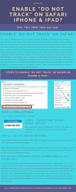 Dial 1866-218-2512 Enable Do Not Track on Safari iPhone & iPad