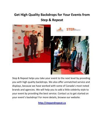 Get High Quality Backdrops for Your Events from Step and Repeat