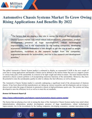 Automotive Chassis Systems Market To Grow Owing To Rising Applications And Benefits By 2022