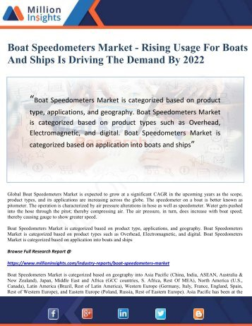 Boat Speedometers Market - Rising Usage For Boats And Ships Is Driving The Demand By 2022