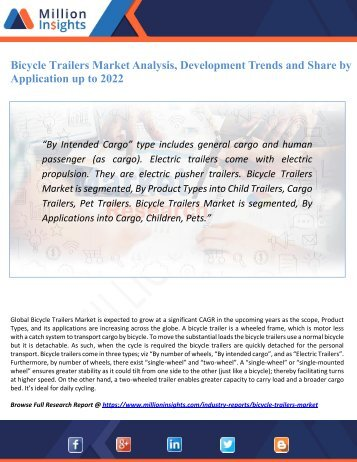 Bicycle Trailers Market Analysis, Development Trends and Share by Application up to 2022