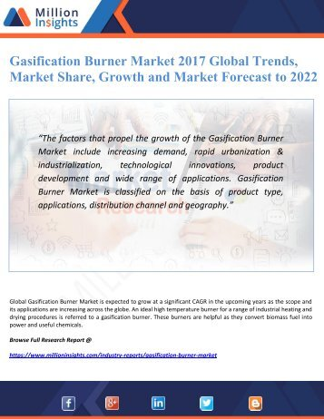 Gasification Burner Market 2017 Global Trends, Market Share, Growth and Market Forecast to 2022