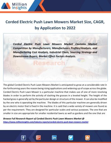 Corded Electric Push Lawn Mowers Market Size, CAGR, by Application to 2022