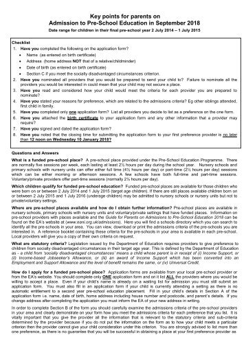 2018-2019 Pre-School Form