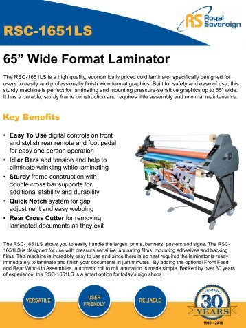 Royal Sovereigns RSC-1651LS Cold Pressure Roll Laminator 65″ – PrintFinish.com