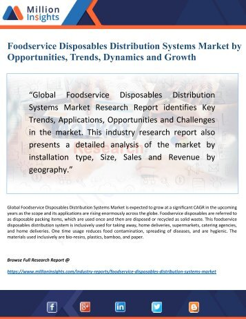 Foodservice Disposables Distribution Systems Market 2022 Research Report by New Horizons, Trajectory Growth Factors
