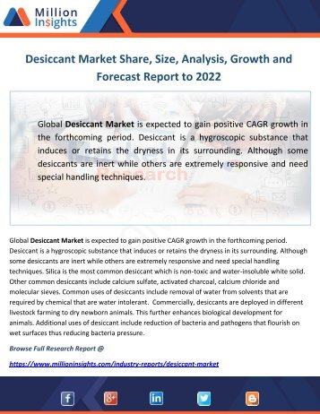 Desiccant Market Share, Size, Analysis, Growth and Forecast Report to 2022