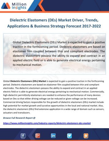 Dielectric Elastomers (DEs) Market Driver, Trends, Applications & Business Strategy Forecast 2017-2022