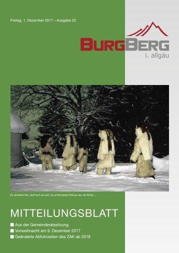 Burgberger Mitteilungsblatt vom 1. Dezember 2017