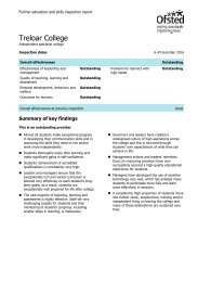 January 2017 OFSTED report for Treloar College