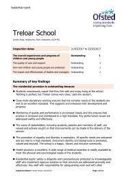 April 2017 OFSTED for Treloar School Residential
