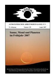 Sonne, Mond und Planeten im Frühjahr 2007 - Sternwarte Calden ...