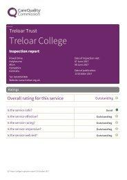 October 2017 CQC Report for Treloar College
