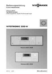VITOTRONIC 200−H Bedienungsanleitung - Viessmann
