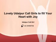 Lovely Udaipur Call Girls to fill Your Heart with Joy