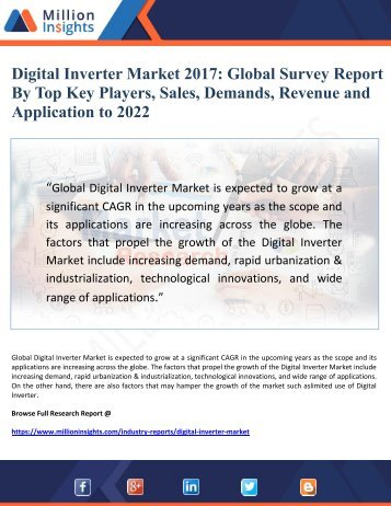 Digital Inverter Market 2017 Global Survey Report   By Top Key Players, Sales, Demands, Revenue and Application to 2022