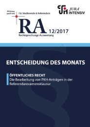 RA 12/2017 - Entscheidung des Monats