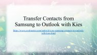 Sync Samsung Contacts to Outlook with Samsung Kies