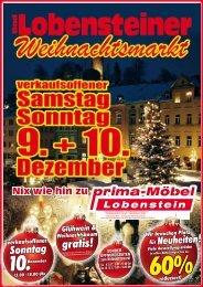 Bad Lobensteiner Weihnachtsmarkt, verkaufsoffener Samstag+Sonntag bei Prima Möbel in 07356 Bad Lobenstein