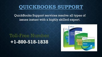QuickBooks Support Number +1-800-518-1838 is Extendible service
