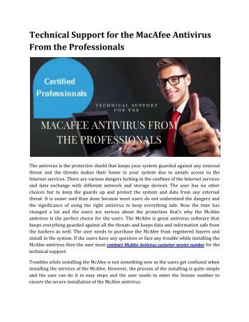Technical Support for the McAfee Antivirus From the Professionals
