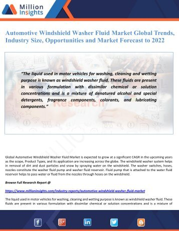 Automotive Windshield Washer Fluid Market Global Trends, Industry Size, Opportunities and Market Forecast to 2022