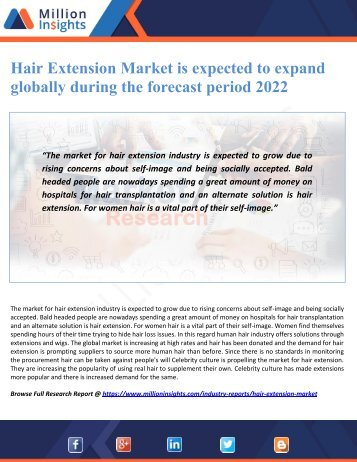 Hair Extension Market is expected to expand globally during the forecast period 2022