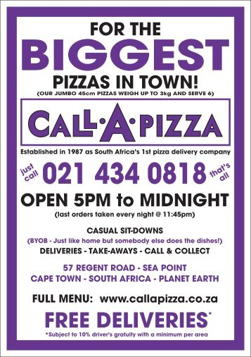 Call a Pizza - The biggest pizzas in town - 2018 Menu!