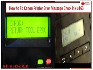 By 1-800-213-8289 fix Canon Printer Error U163
