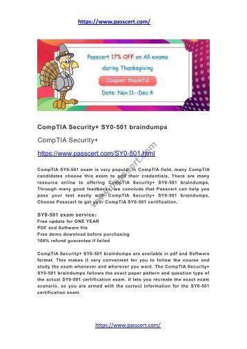 CompTIA Security+ SY0-501 braindumps