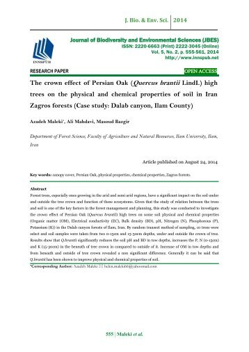 The crown effect of Persian Oak (Quercus brantii LindI.) high trees on the physical and chemical properties of soil in Iran Zagros forests (Case study: Dalab canyon, Ilam County)