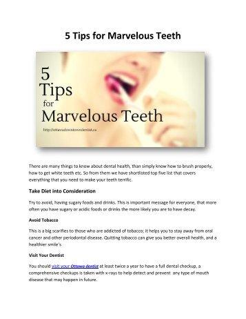 5 Tips for Marvelous Teeth
