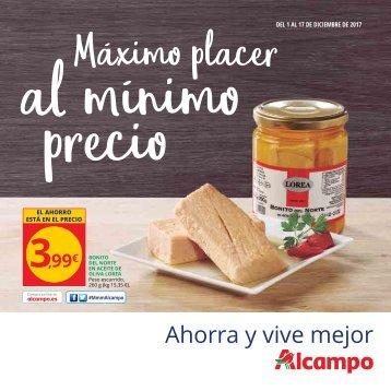 Alcampo Folleto Máximo placer al minimo precio  hasta 17 diciembre 2017