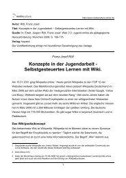 Konzepte in der Jugendarbeit - Selbstgesteuertes Lernen mit Wiki.