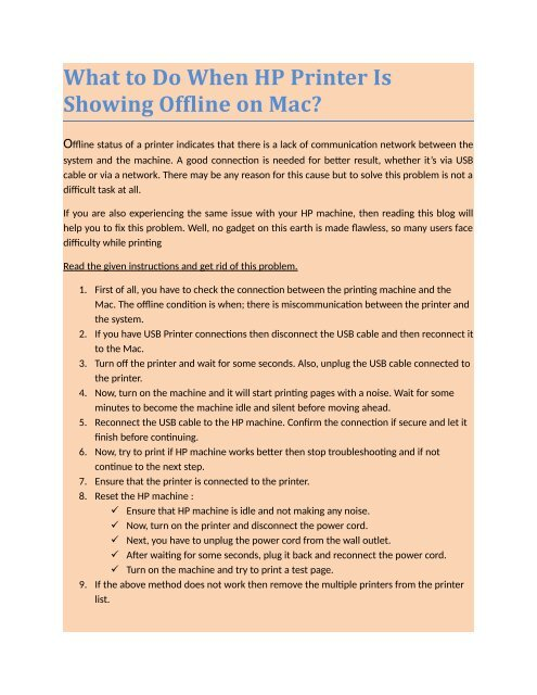 What to Do When HP Printer Is Showing Offline on Mac?