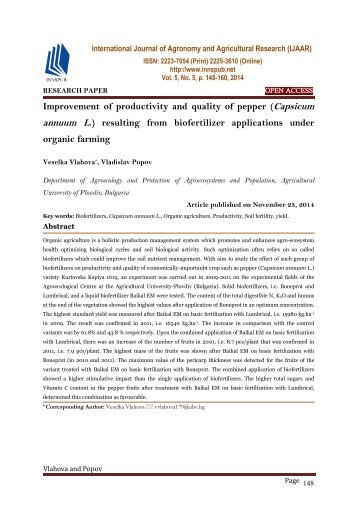 Improvement of productivity and quality of pepper (Capsicum annuum L.) resulting from biofertilizer applications under organic farming