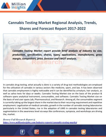 Cannabis Testing Market Regional Analysis, Trends, Share And Forecast Report 2022