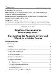 Gewaltprofil des deutschen Fernsehprogramms. Eine Analyse des ...