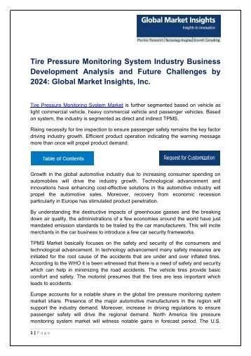 Tire Pressure Monitoring System (TPMS) Market Analysis, Report, Trends and Forecast, 2017-2024