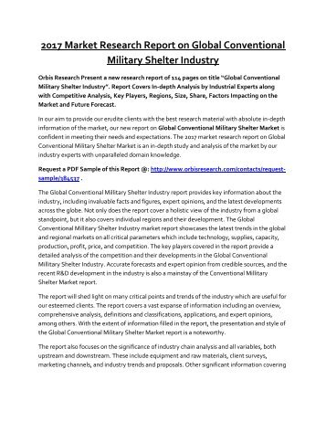 Conventional Millitary Shelter Market by Type, Application, End-use Sector & Region - Global Forecast to 2022