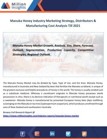 Manuka Honey Industry Marketing Strategy, Distributors & Manufacturing Cost Analysis Till 2021