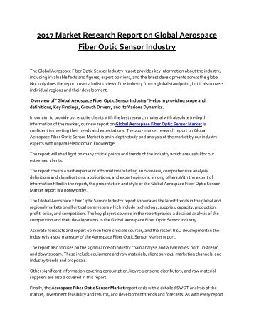 Aerospace Fiber Optic Sensor Market to Grow at a Sensational CAGR by 2022