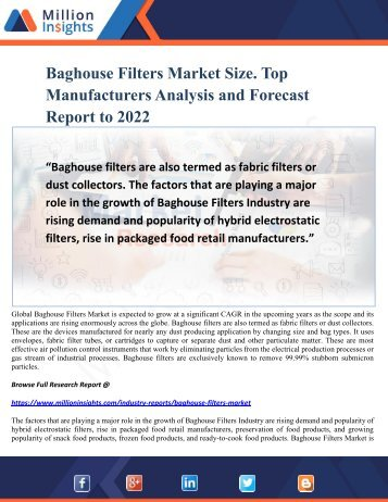 Baghouse Filters Market Size. Top Manufacturers Analysis and Forecast Report to 2022