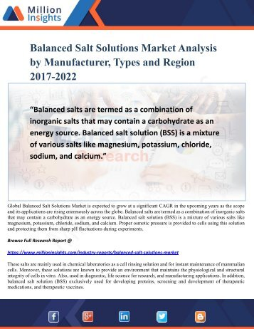 Balanced Salt Solutions Market Analysis by Manufacturer, Types and Region 2017-2022