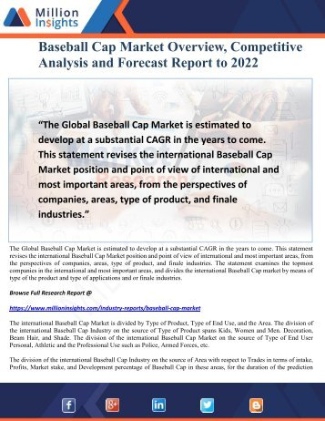Baseball Cap Market Overview, Competitive Analysis and Forecast Report to 2022